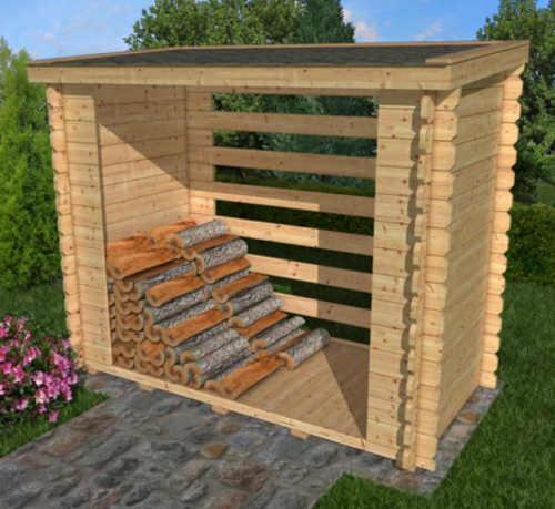 Dřevěný dřevník na palivové dřevo stavebnice