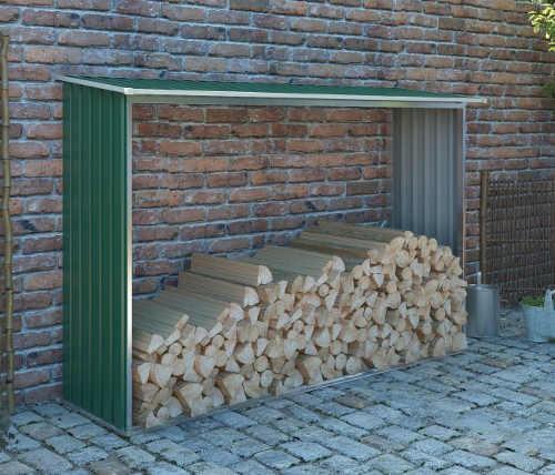 Dřevník ke stěně domu z pozinkovaného plechu