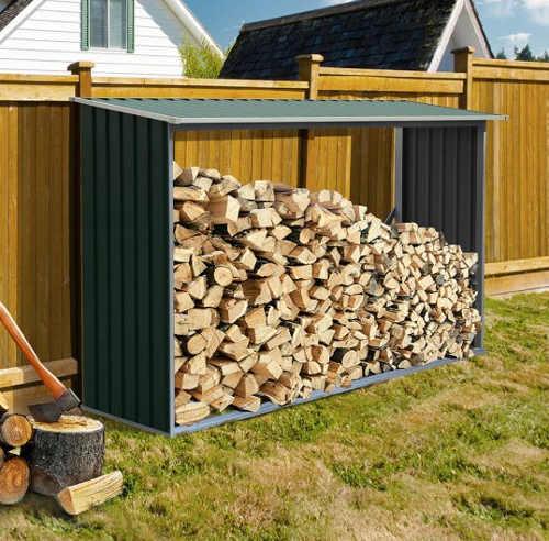Kovový dřevník na dva kubíky dřeva