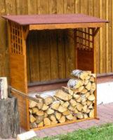 Praktický dřevník z borovicového dřeva Keid 130x60x168cm