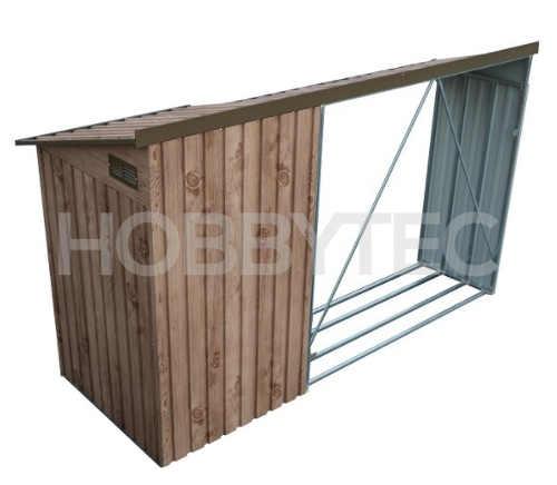 Plechový přístřešek na dřevo s kůlnou