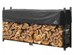 Kovový dřevník na palivové dříví SABIK DOUBLE, 238x36x120 cm
