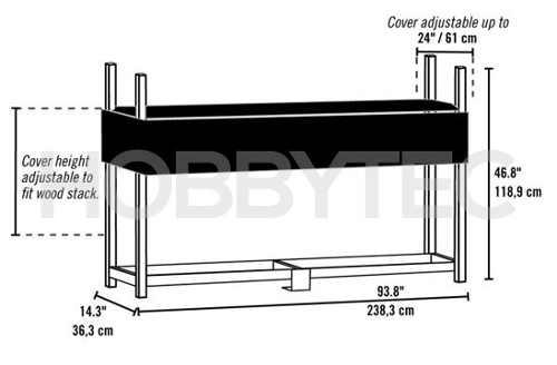 Kovový stojan na palivové dřevo délka 238 cm