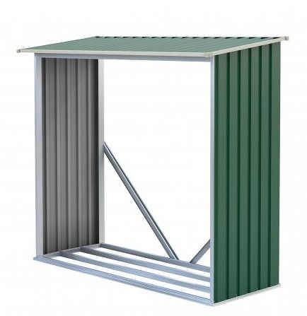 Zelený plechový dřevník o objemu 1,5 m³