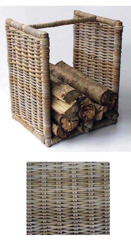 Ratanový stojan na dřevo ke krbu